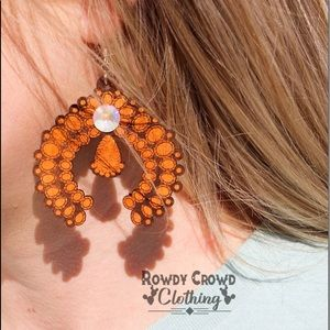 Leather Earrings Squash Blossom Tooled Western